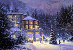 christmas, christmas at the ahwahnee, праздник, картина, Зима, thomas kinkade