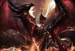 world of warcraft, Kill deathwing, battle, fanart, dragon, art, chenbo, фанарт, wow