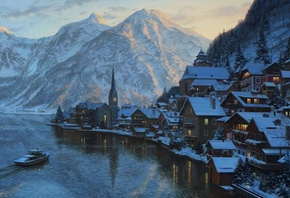 mountain, Eugeny lushpin, lushpin, painting, lake, austria, alps, village,  ...