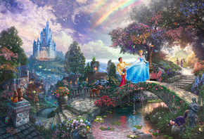 thomas kinkade, film, walt disney, Cinderella wishes upon a dream, animated, painting, art