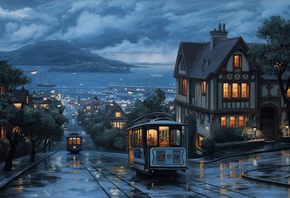 landscape, An evening journey, street, city, painting, evening, eugeny lushpin, lushpin, port