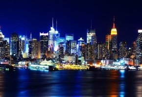 огни, нью-йорк, new york, Manhatten, night, usa, ночь