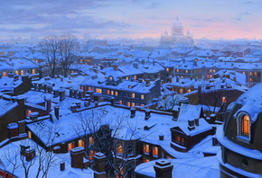 houses, roofs, st petersburg, st petersburg roofs, Eugeny lushpin, snow, wi ...