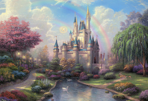 cinderella castle, New day at the cinderella castle, painting, castle, disn ...