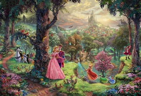 animated film, art, walt disney, Sleeping beauty, thomas kinkade, painting