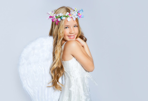 wings, children, happiness, angel, Beautiful little girl, crown of flowers, childhood, child