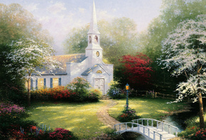 chapel, томас кинкейд, lamp, paintig, Hometown chapel, bridge, thomas kinkade