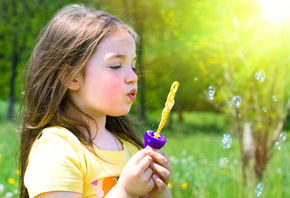 beautiful, grass, little girl, playing, nature, cute, spring, bubbles, happiness, Blonde, lovely