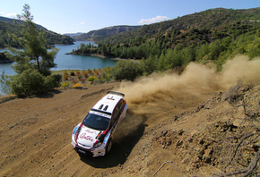 Intercontinental rally challenge, пыль, ford, al attiyah, поворот, ciprus 2011