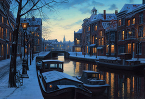 lights, painting, boats, netherlands, amsterdam, Winter twilight, holland, evening, eugeny lushpin