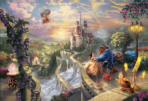 Thomas kinkade, the disney dreams collection, beauty and the beast falling  ...