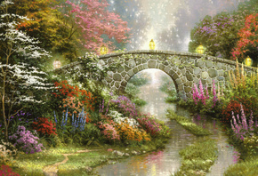 Stillwater bridge, beautiful, magic, thomas kinkade, lamps, bridge, painting, flowers, nature