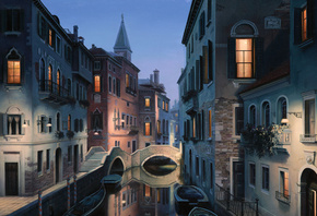 italy, venice, Night dreams, евгений лушпин, eugeny lushpin, painting