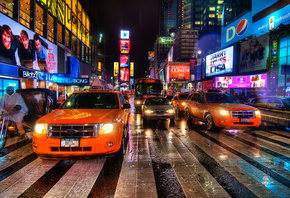 New york, rain dance, ночь, нью-йорк, usa, night, nyc, times square
