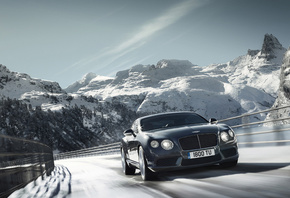 машина, природа, горы, снег, 2012 bentley continental gt v8, деревья