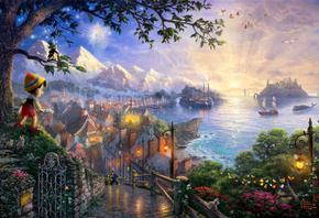 Thomas kinkade, 50-th anniversary, pinocchio wishes upon a star, art, the disney dreams collection