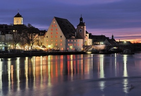 Bavaria, river, bridge, regernsburg, бавария, city, beautiful, germany, гер ...