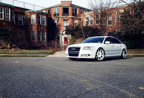 white, audi a8, cars, a8, tuning auto, Auto, audi, tuning cars, wallpapers auto, обои авто