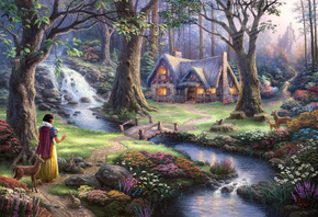 snow white discovers the cottage, 50-th anniversary, the disney dreams collection, Thomas kinkade