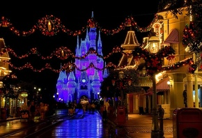 christmas decoration, castle, disneyland, florida, cinderella castle, usa, street, Christmas