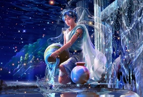 fantasy, starry tales, beautiful dreams, yutaka kagaya, aquarius, stars, zodiac, Cg wallpapers