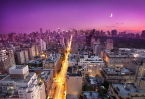 east side, New york, sunset, nyc, usa, нью-йорк, закат, moon