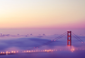 огни, San francisco, туман, golden gate bridge, сан франциско