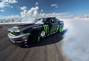 competition, drift, sportcar, mustang, clouds, Ford, gt, smoke, tuning
