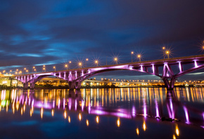 river, city, bridge, taipei, night, reflection, lights, china, taiwan