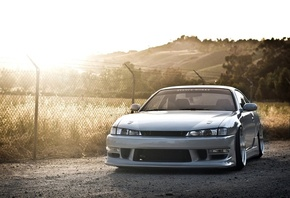 sun, Car, silvia, nissan, jdm, walls, drift, s14, silver, works, stance, japan, car, wallpapers