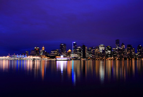reflection, night city, british columbia, lights, Canada, vancouver, канада, river