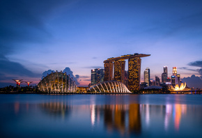 sunset, gardens by the bay, blue sky, evening, lights, architecture, Singapore, clouds, skyscrapers