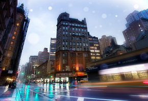 бродвей, нью-йорк, nyc, new york, broadway, rainy night, usa, Slick streets