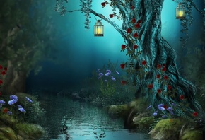 night, цветы, Fantasy, roses, red roses, lamps, flowers, forest, nature, лес, river