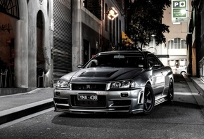 beautiful, bnr34, night, desktop, japan, nissan, grey, automobile, wallpapers, Car, skyline, street