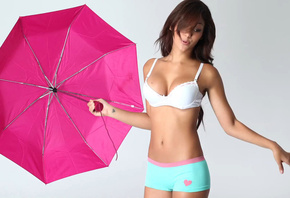 Melanie Iglesias, Singer, Model, Bra, Boxer, Umbrella, Cute