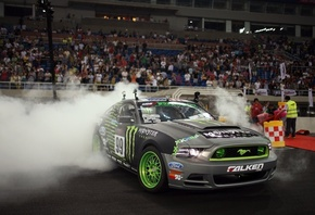 Car, wallpapers, автомобиль, ford, drift, mustang, обоя, gt500, monster energy