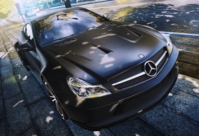 need for speed most wanted 2, машина, Mercedes, Benz, SL65, Black Series, город, ракурс