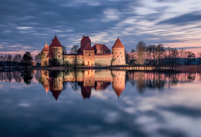 Trakai, Lithuania, Тракай, Литва, замок, озеро, отражение, закат
