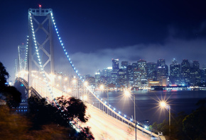 california, калифорния, bay bridge, San francisco, night, сан-франциско