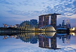 sky, reflection, gardens by the bay, skyscrapers, lights, clouds, architecture, evening, Singapore