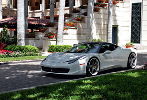 Ferrari, 458, Italia, White, Tuning, Wheels, Yard, Grass, Villa