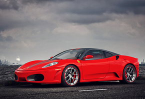 Ferrari, F430, Supercar, Red, Landscape, Sky, Clouds, Water, Factory
