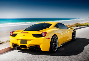 yellow, Ferrari, sea, italia, tuning, 458