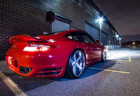 Porsche, 911, Turbo, Tuning, Red, Rims, Wheels, Night, Lights, Glow, Garage
