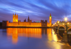 bridge, london, night, england, big ben, city, buildings, lanterns, Great b ...