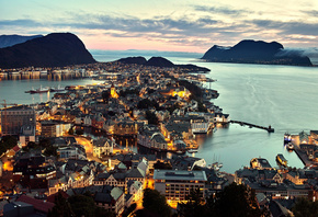 море, __lesund, Norway, город, норвегия, панорама, олесунн
