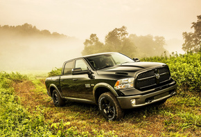 black, saw, road, ram, hemi, 2013, 4x4, 5.7-liter, truck, way, hemi, vegetation, Dodge, 1500, fog
