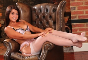 bryoni kate, brunette, sexy girl, lingerie, stockings
