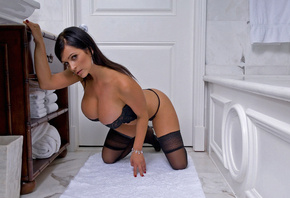 denise milani, huge tits, bra, corset, bath, brunette, hot, perfect, wonderful curves, stockings